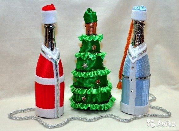 Украсить бутылку шампанского на новый год своими