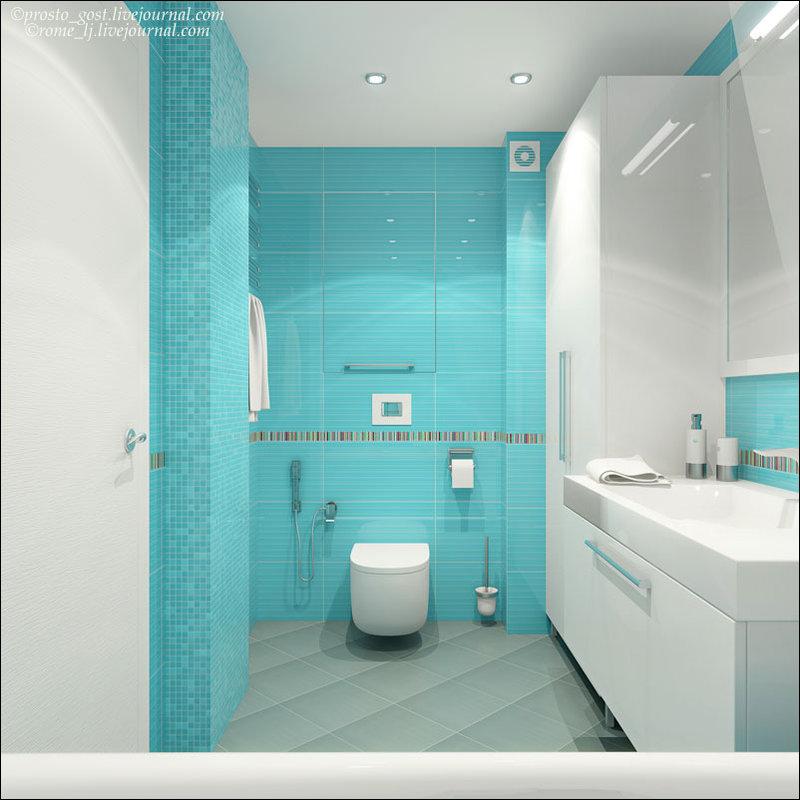 Ванная комната дизайн бирюзовая