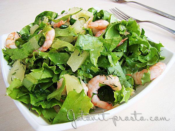 Салаты из листьев салата с креветками рецепты