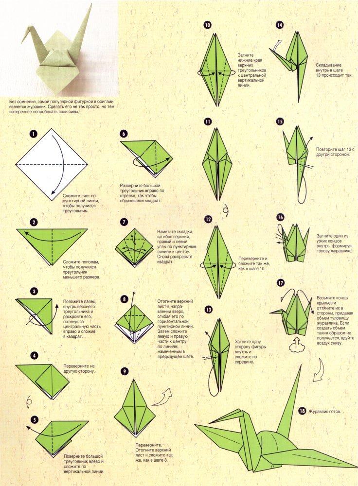 Как сделать оригами-журавлика инструкция