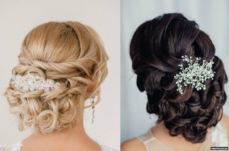 Прически к свадьбе для волос средней длины