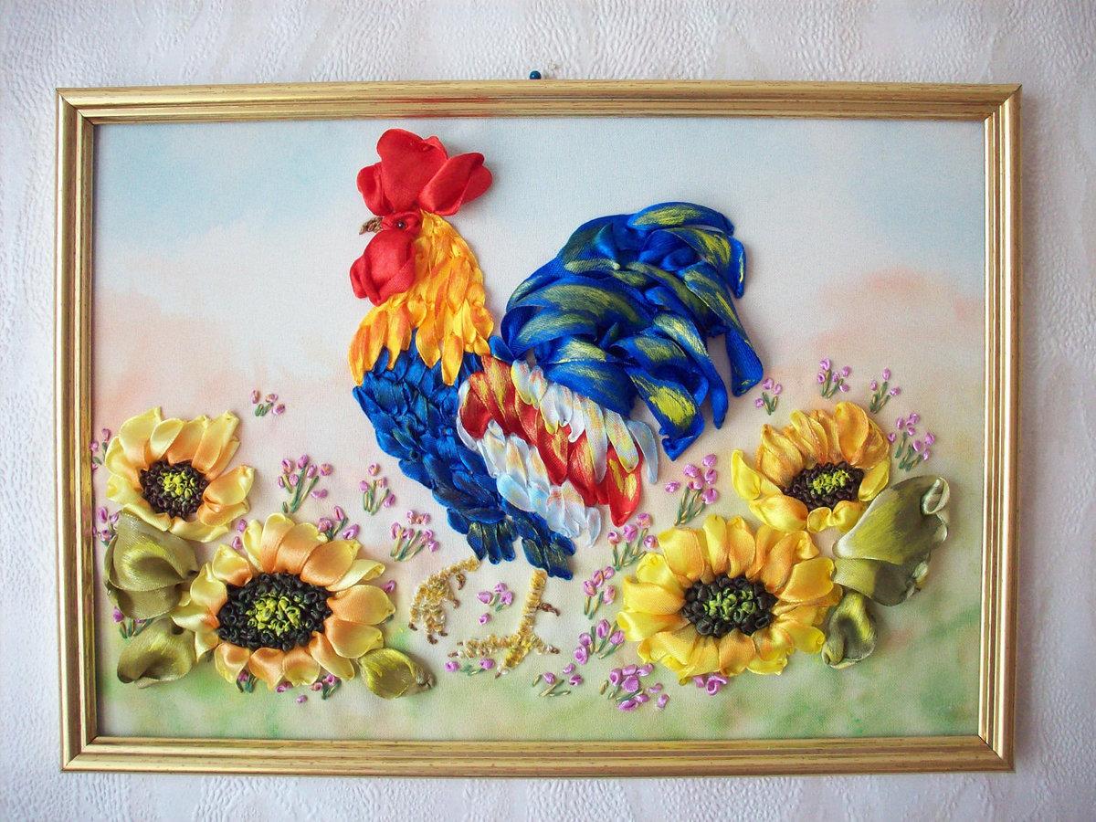 Картины с цветами из лент своими руками