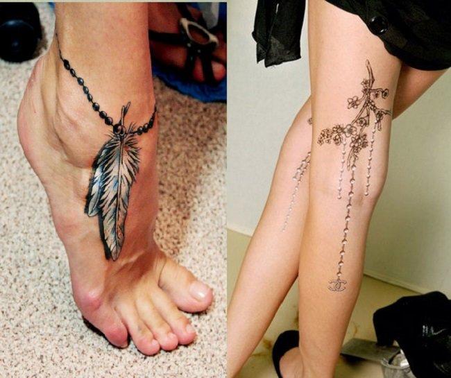 Тату рисунок на ноге для девушек