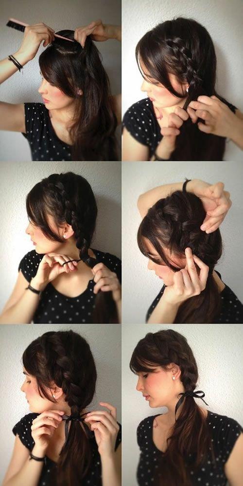 Коса на бок на средние волосы фото своими руками