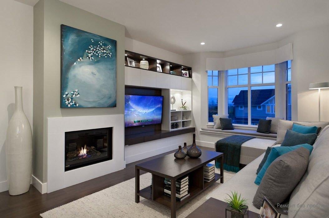 Белый телевизор в интерьере гостиной