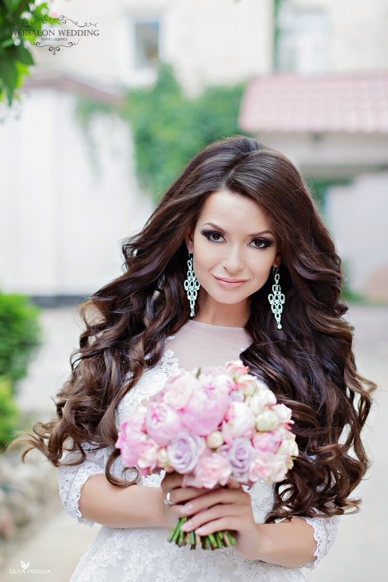 Прически на свадьбу на длинные волосы распущенные волосы