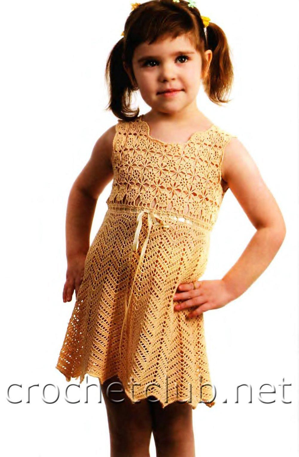 Вязаное платье для девочки крючком. 203 схемы вязания 2