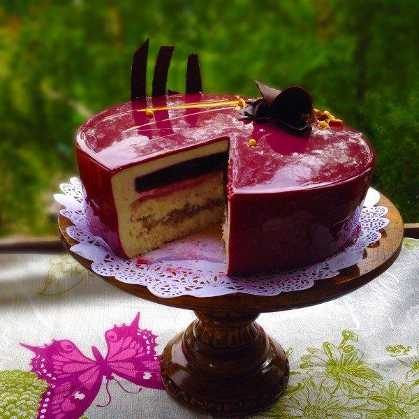 Рецепт муссового торта с зеркальной глазурью в домашних условиях