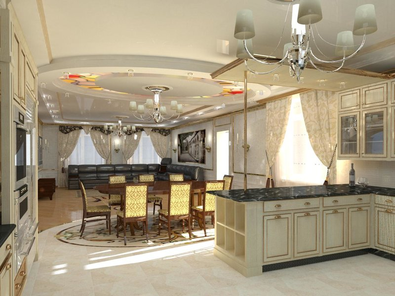 Дизайн кухни-столовой в доме фото