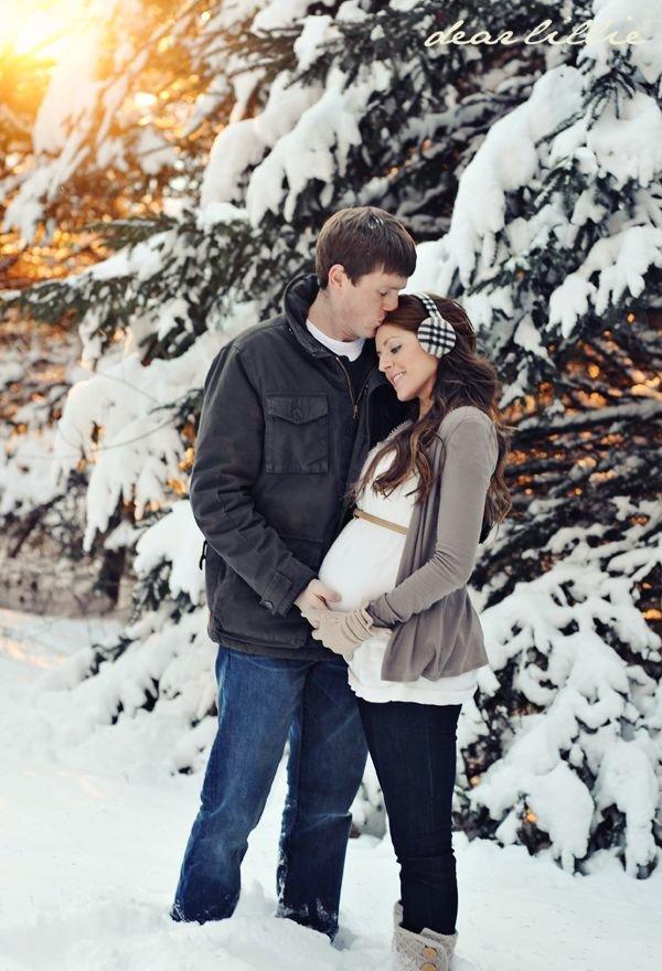 Фотосессия беременных зимой с мужем фото