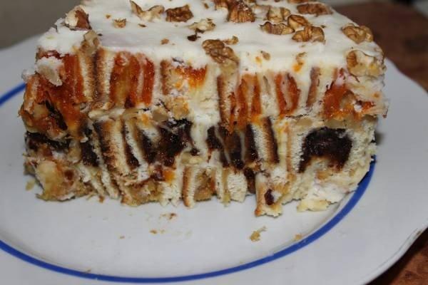 Торт с курагой маком и изюмом