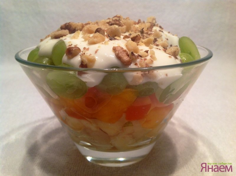 Фото салат фруктовый с йогуртом