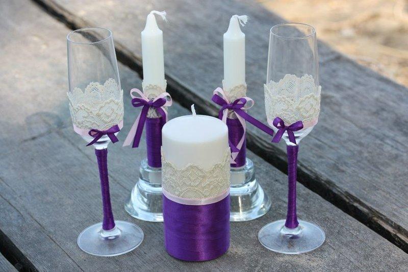 Бокалы и свечи свадебные