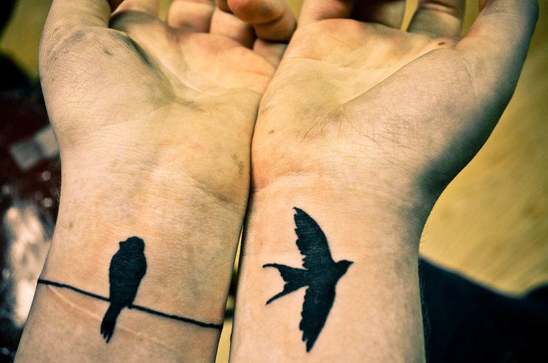Тату для девушек на руке птички