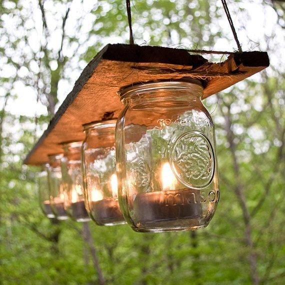 Садовый фонарь из стеклянной банки 68