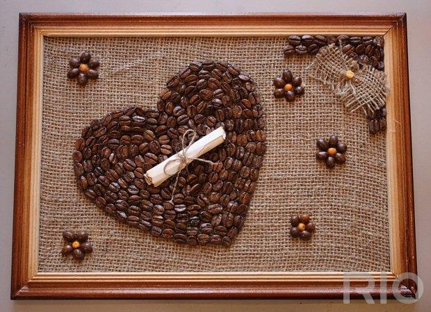 Картины своими руками из кофейных зёрен