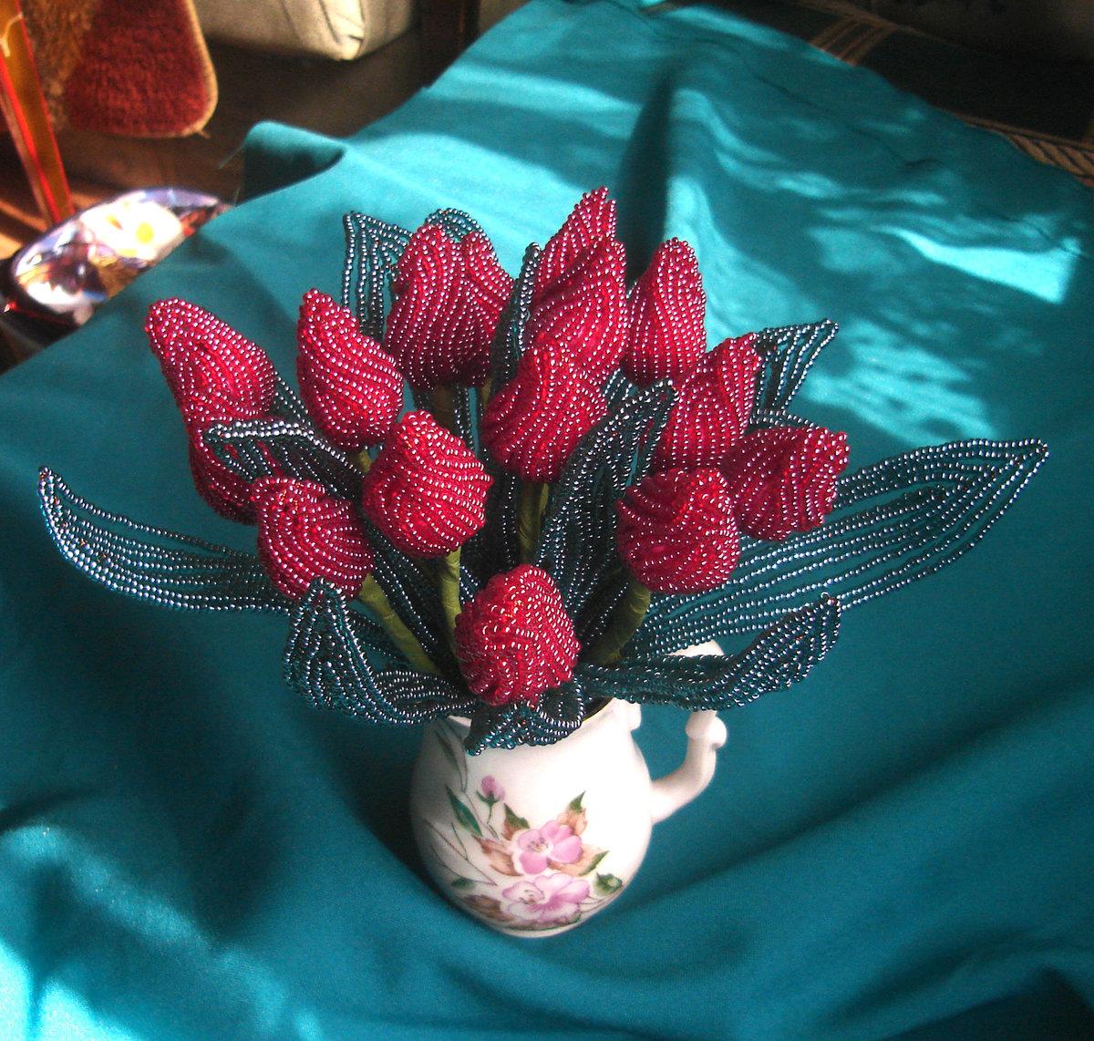 Тюльпаны из бисера мастер класс пошаговое фото