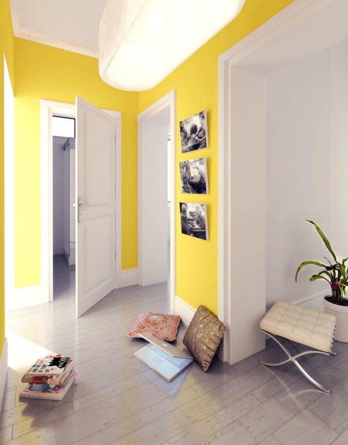 Интерьер желтые стены светлый пол светлые двери фото