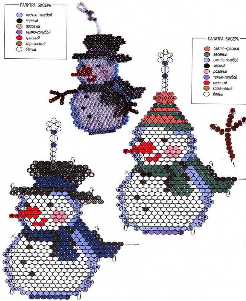 Как сделать снеговика из бисера схема для начинающих