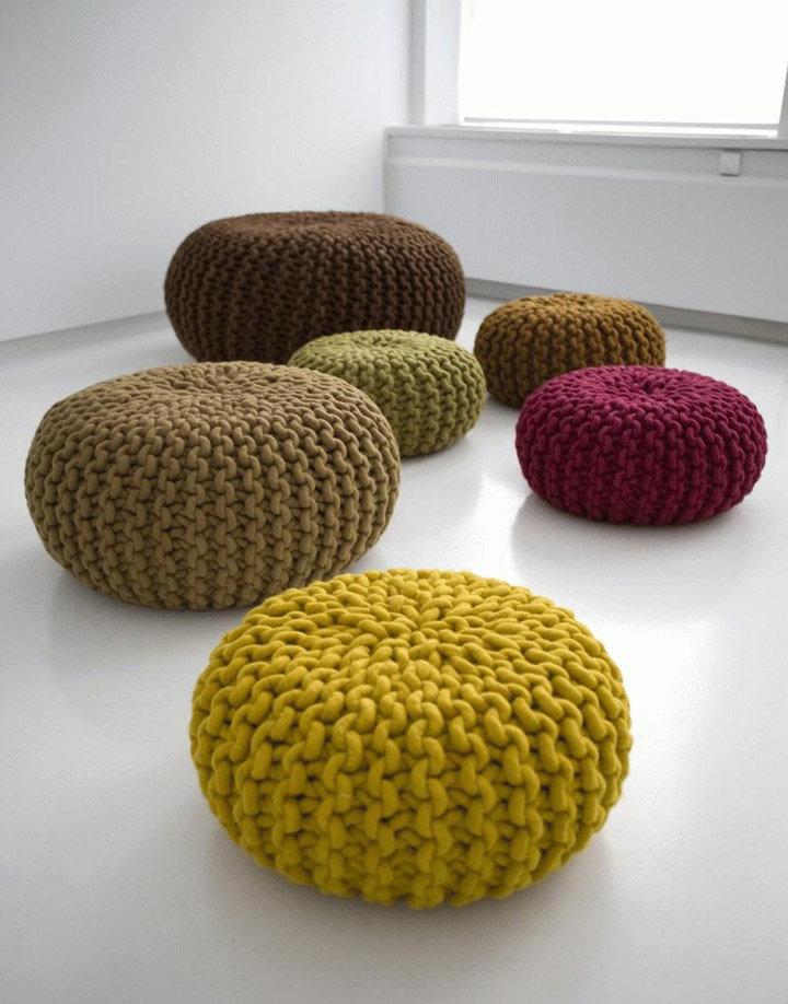 Вязание на спицах подушки для дома
