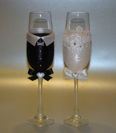 Как украсить бокалы на свадьбу своими руками пошагово 2