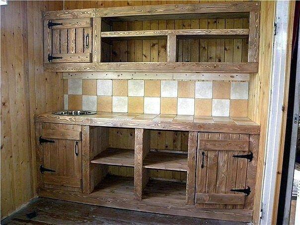 Кухня для дачи  из досок фото 103
