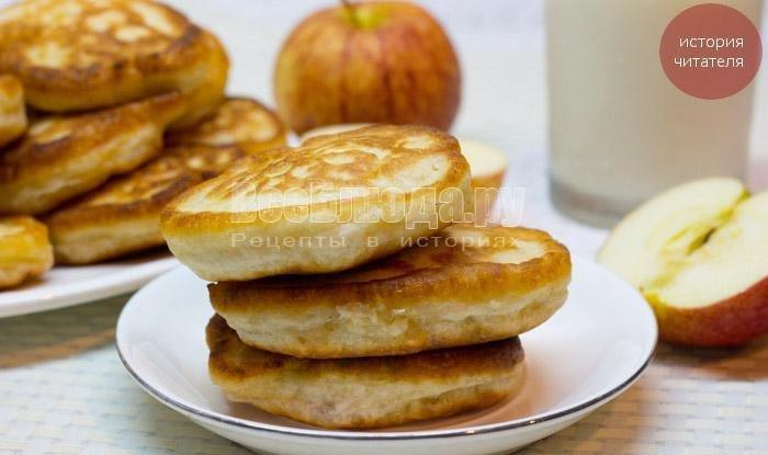 Оладьи с яблоками на кефире пышные рецепт с фото пошагово на дрожжах