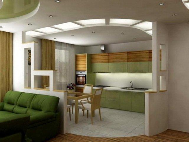 Дизайн проекты совмещенной гостиной и кухни