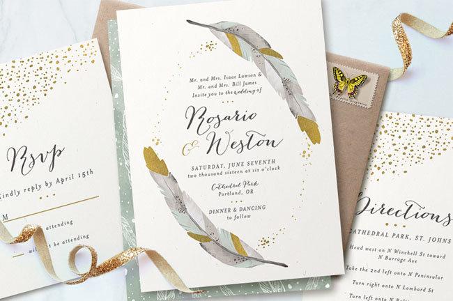 Приглашение на свадьбу с перьями