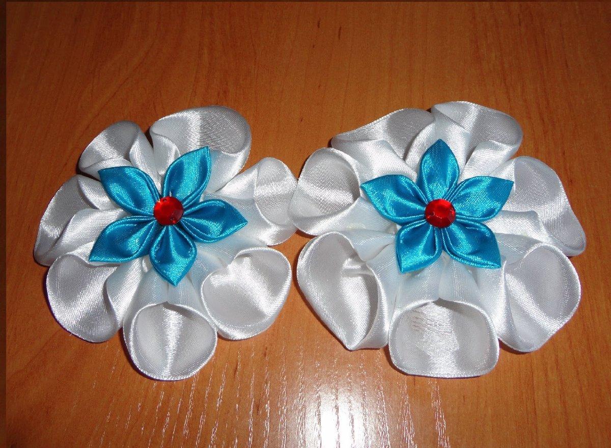 Банты и цветы из атласных лент мастер класс