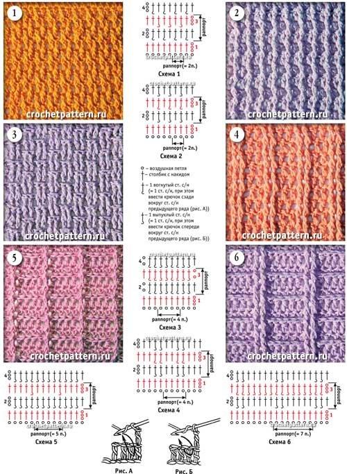 Плотные узоры крючком схемы и описание для начинающих