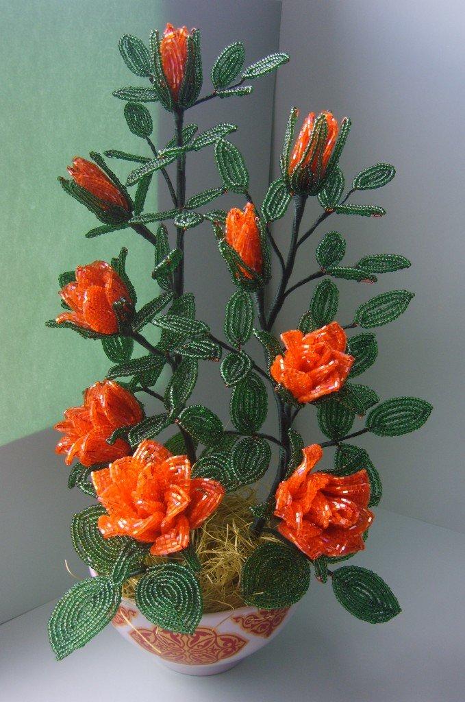 Кустовая роза из бисера. Пошаговый мастер-класс