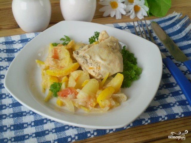 Курица тушеная с овощами рецепт с пошагово в