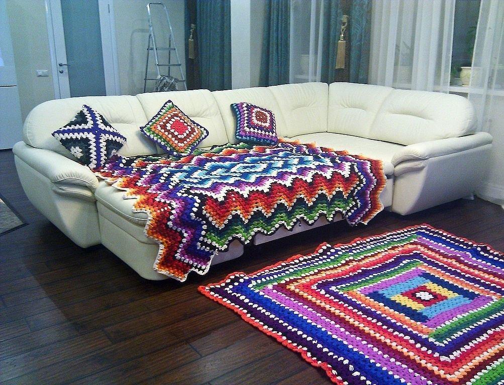 Как вязать коврики на диван