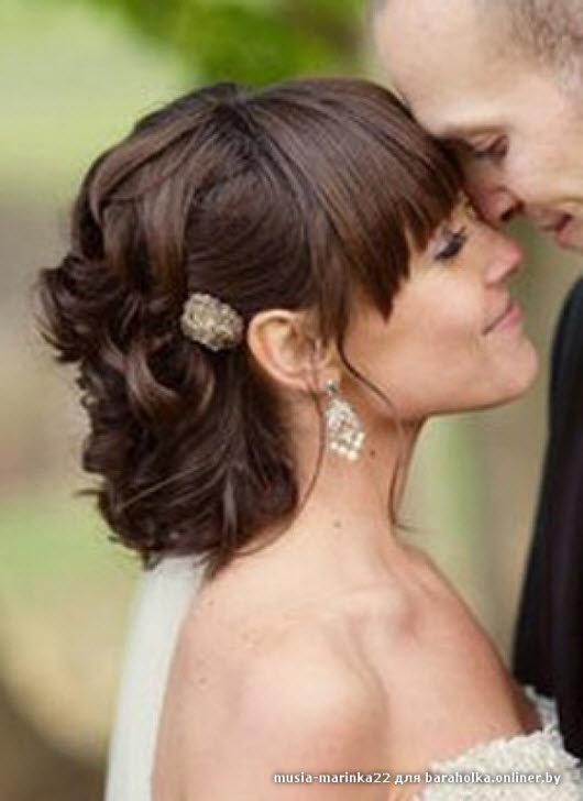 Свадебные прически на средней длины волосы с челкой
