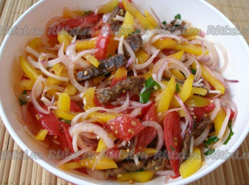 Салаты с болгарским перцем и мясом рецепты с