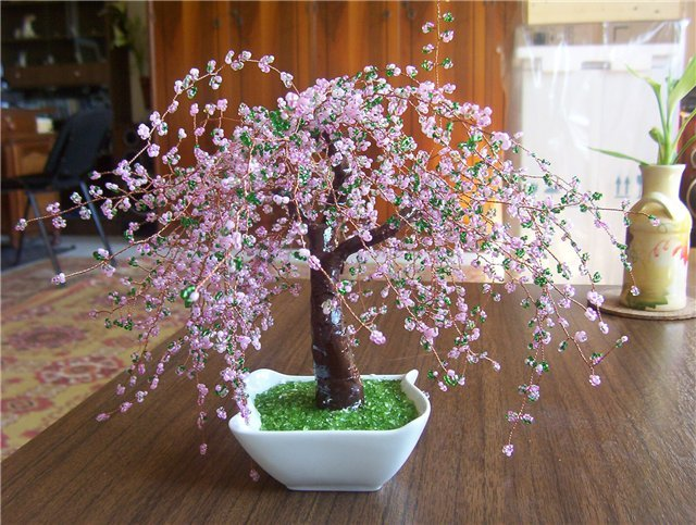 Дерево из бисера своими руками фото