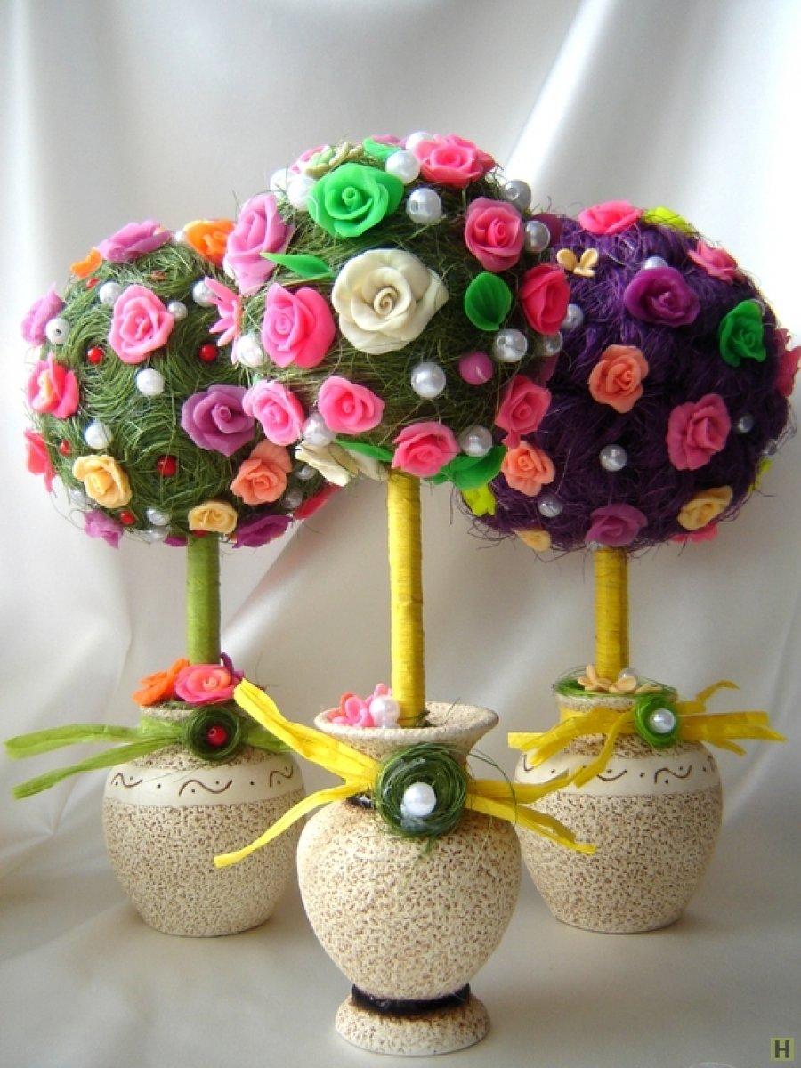 Цветочное дерево в горшке своими руками