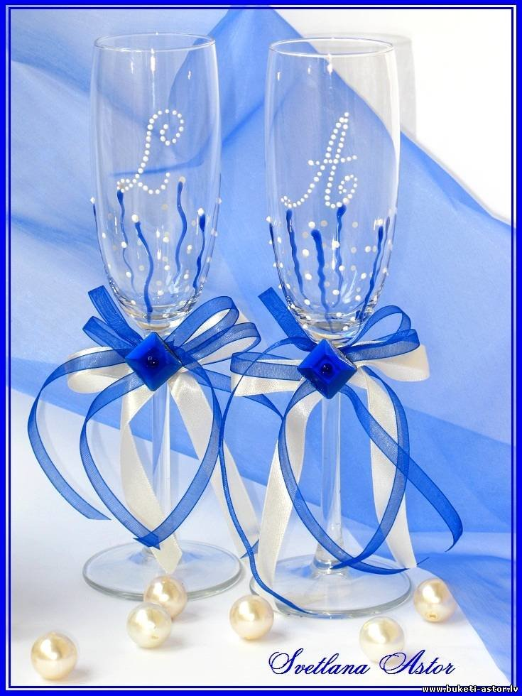 Бокалы для свадьбы синие своими руками