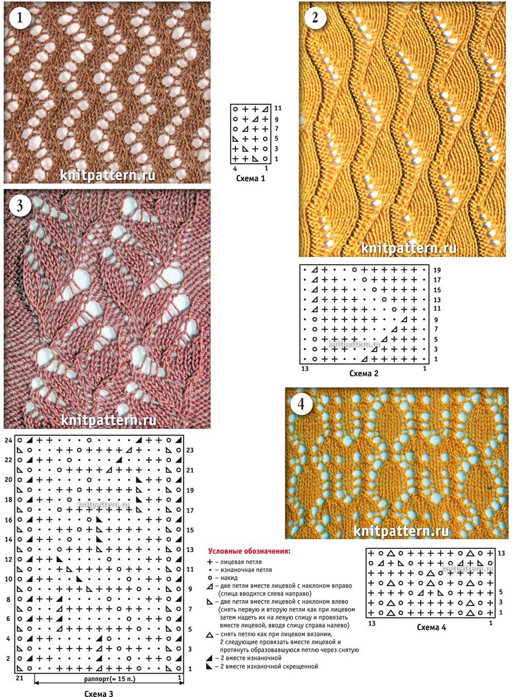 Виды рисунков для вязания на спицах описание 138