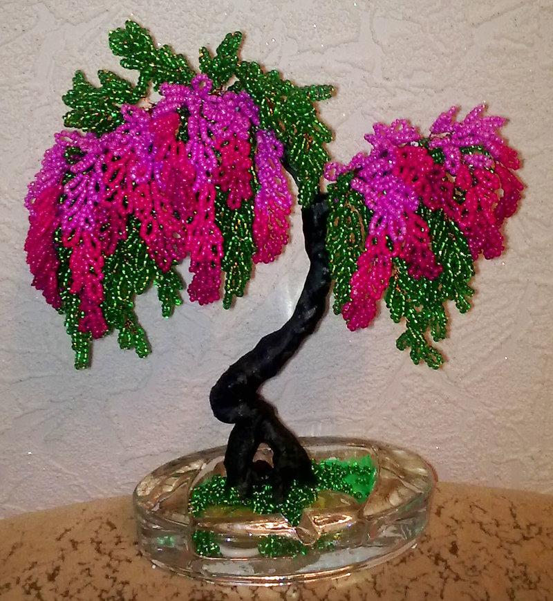 Фото плетение из бисера цветы и деревья