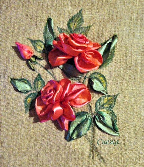 Ютуб вышивка лентами бутон розы мастер класс 30