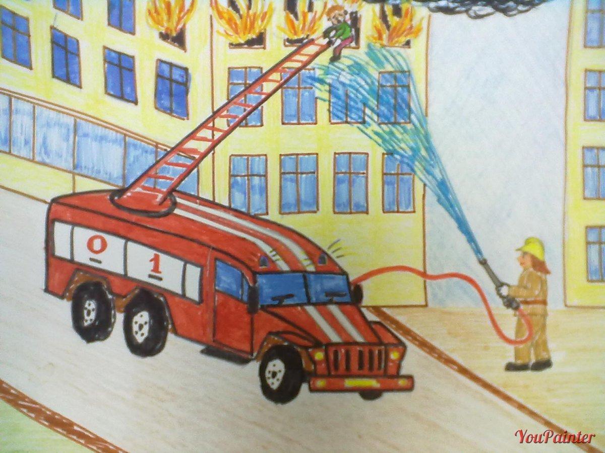 Детские рисунки пожарных машин