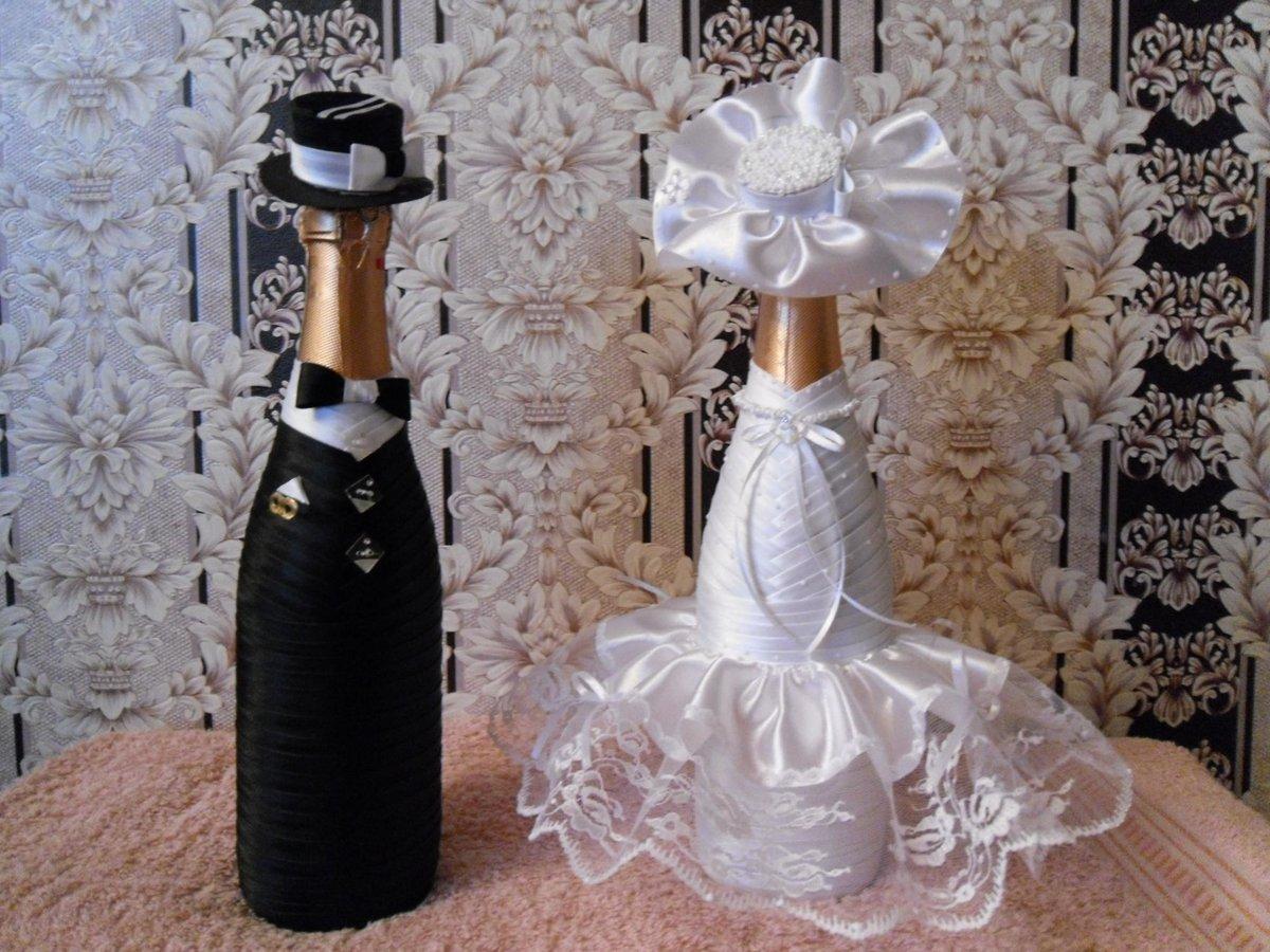 Красивые свадебные бутылки шампанского своими руками 89
