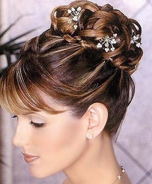 Прически свадебные на средние волосы с челкой