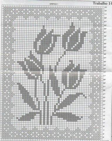 Тюльпаны филейное вязание 55