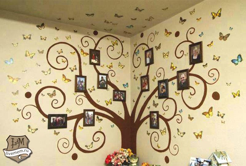 Оформление стены своими руками дерево 97