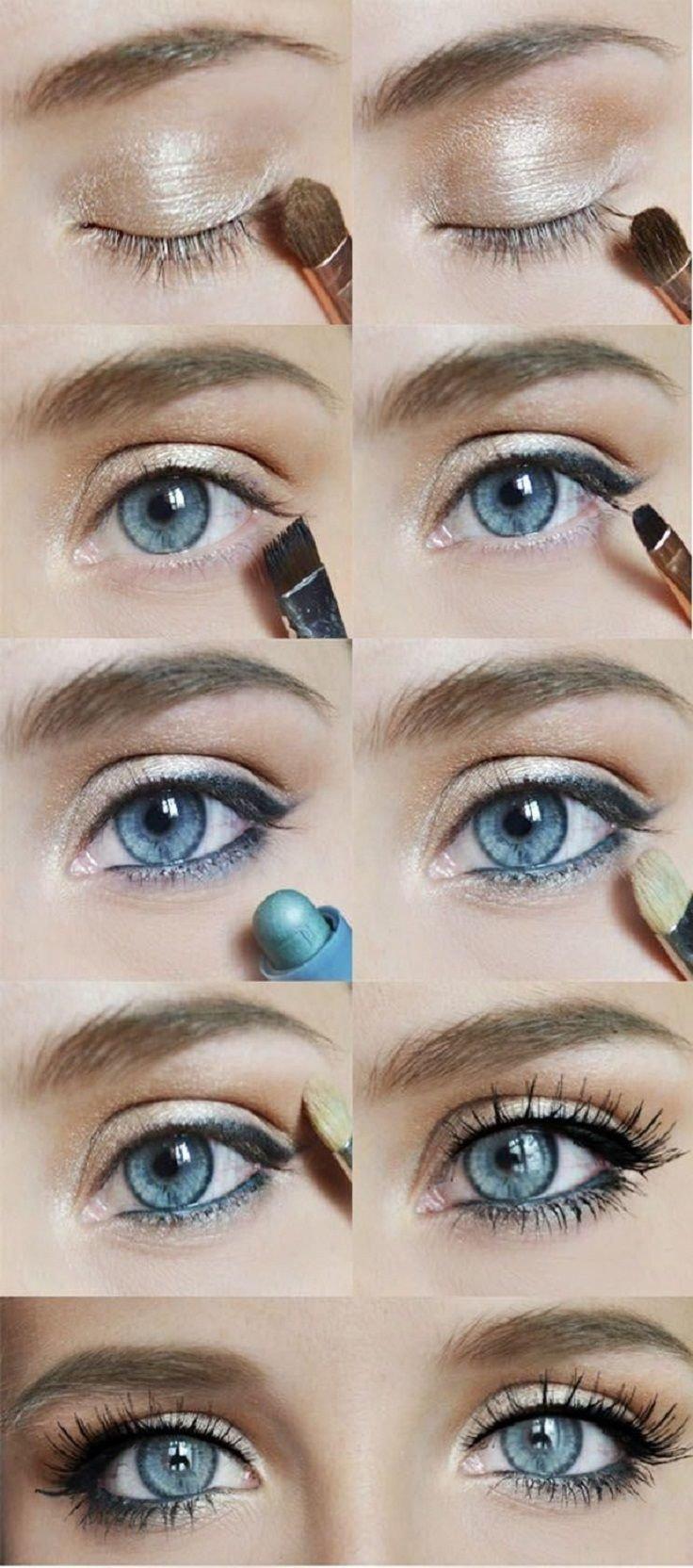 Как сделать повседневный макияж для голубых глаз