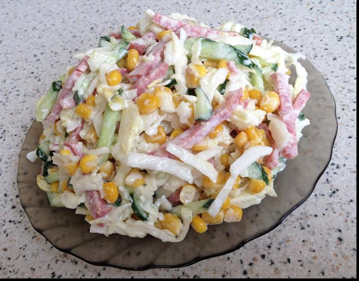 Салат с огурцом и колбасой и капустой рецепт с