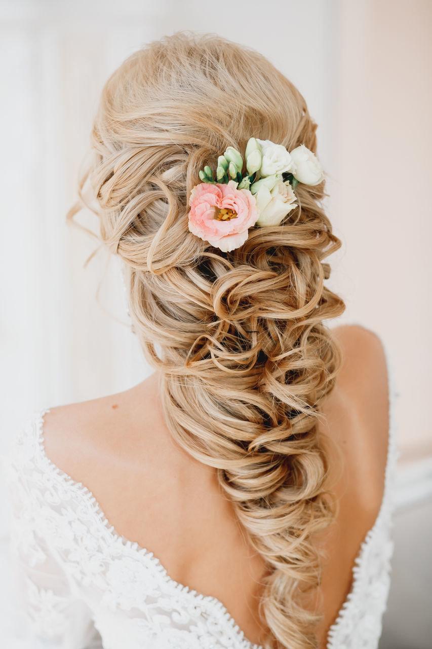 Каталог свадебных причесок средние волосы